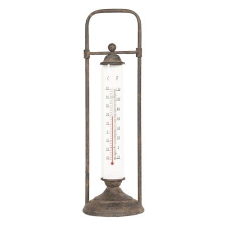 Clayre & Eef 64307 Fém kültéri hőmérő 13x13x43cm,álló