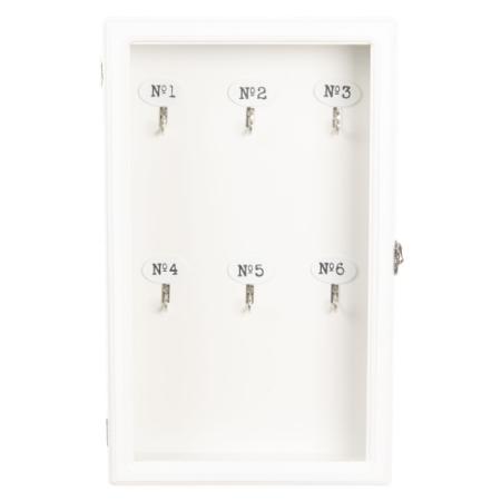 Clayre & Eef 6H1570W Fa fali kulcsosszekrény 24x7x38cm, fehér