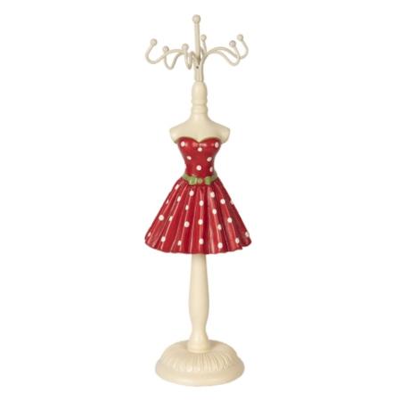 CLEEF.64460 Ékszertartó baba piros ruhás fehér pöttyökkel, 6x6x23cm, műanyag