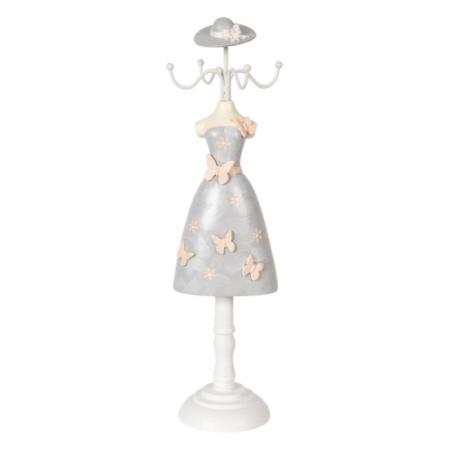 CLEEF.64464 Ékszertartó baba szürke ruhás, rózsaszín pillangókkal, 9x8x34cm, műanyag