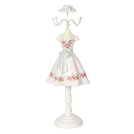 CLEEF.64465 Ékszertartó baba fehér ruhás rózsával, 12x8x32cm, műanyag
