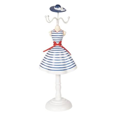 CLEEF.64466 Ékszertartó baba kék csíkos ruhás, 12x8x32cm, műanyag