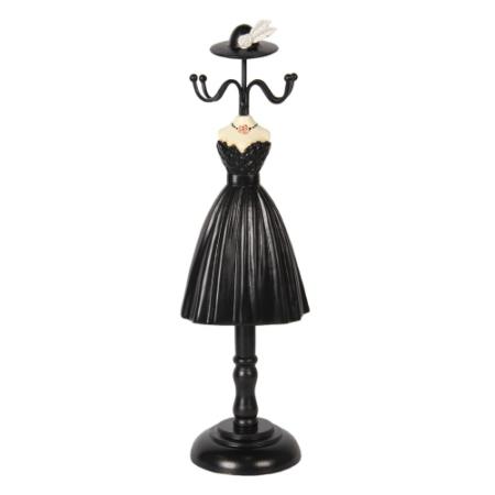 CLEEF.64467 Ékszertartó baba fekete ruhás, 10x8x33cm, műanyag