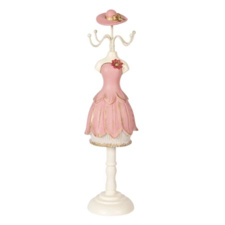 CLEEF.64470 Ékszertartó baba rózsaszín ruhás piros virággal 9x8x33cm,műanyag