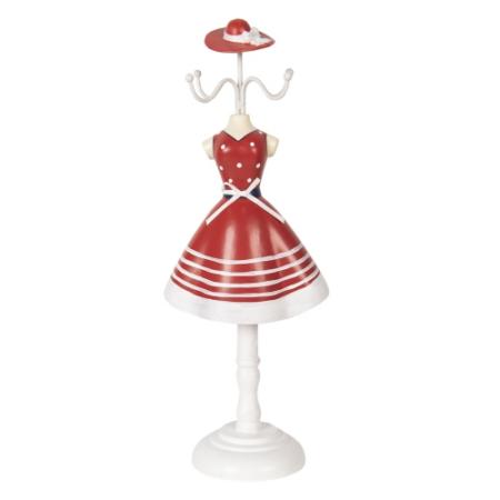 CLEEF.64471 Ékszertartó baba piros fehér csíkos ruhás, 12x8x32cm, műanyag