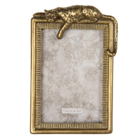 CLEEF.2F0691 Képkeret műanyag, 13x19/10x15cm, arany színű leopárdos