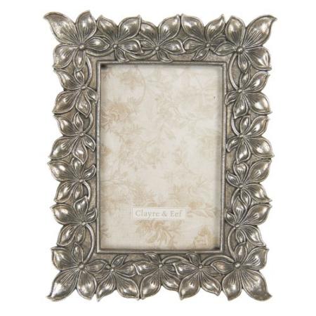 CLEEF.2F0761 Képkeret műanyag, 18x22/10x15cm, ezüstös virágos