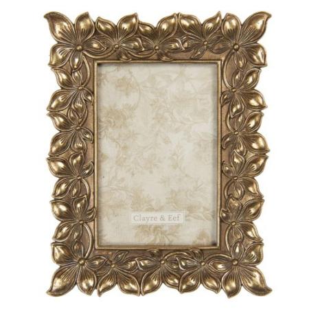 CLEEF.2F0760 Képkeret műanyag, virágos 18x2x22/10x15cm,antik arany