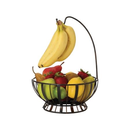 C.T.5164228 Antikolt fekete fém gyümölcskosár banánkampóval, 262x262x375 mm, Mikasa:Gourmet Basics Wire