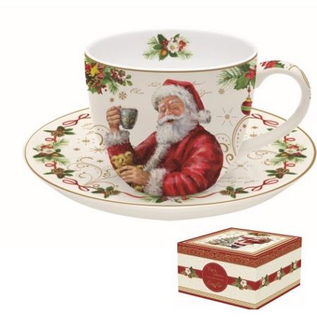 R2S.1036MAGI Porcelán teáscsésze+alj dobozban, 200ml, Magic Christmas