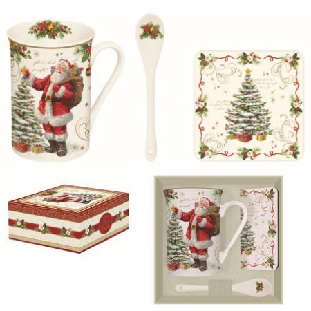 R2S.1459MAGI Porcelán bögre 250ml kanállal, parafa poháralátéttel, dobozban, Magic Christmas
