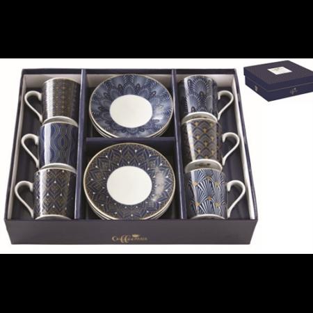 R2S.126CMAR Porcelán espresso csésze+alj 6 személyes, 100ml, dobozban, Coffee Mania Art Deco