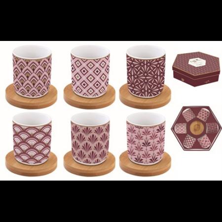 A.A.127CMDA Porcelán eszpresszó pohár+ bambuszalj 6 személyes, 110ml, dobozban, Coffee Mania Damask