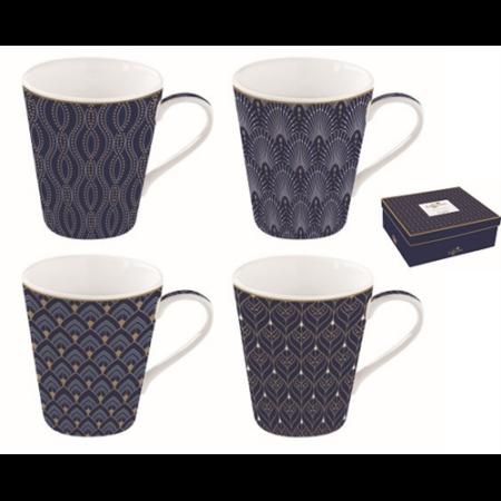 A.A.128CMAR Porcelán bögre 4db-os 260ml, dobozban, Coffee Mania Art Deco