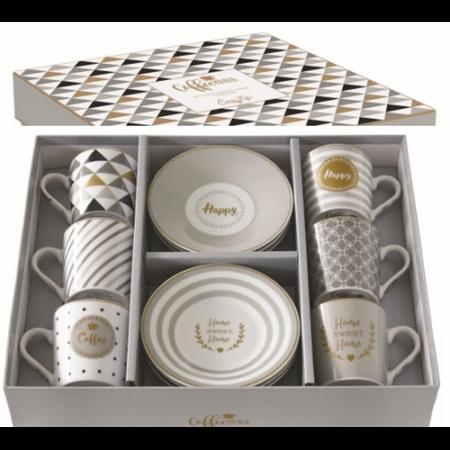 R2S.126CMHA Porcelán espresso csésze+alj 6 személyes, 100ml, dobozban, Coffe mania-Happy
