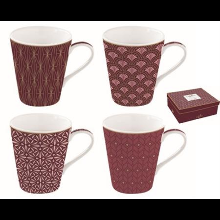 R2S.128CMDA Porcelán bögre 4db-os 260ml, dobozban, Coffee Mania Damask