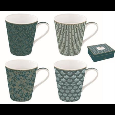 R2S.128CMED Porcelán bögre 4db-os 260ml, dobozban, Coffee Mania Eden