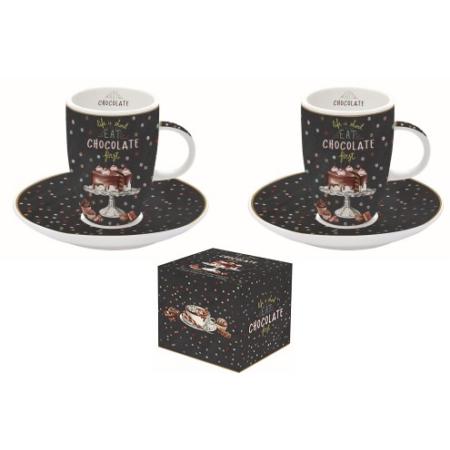 R2S.1460HOCH Porcelán espresso csésze+alj 2 személyes, 50ml, dobozban, Hot Chocolate