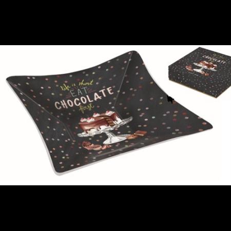 R2S.634HOCH Üvegtál 13x13cm, dobozban, Hot Chocolate