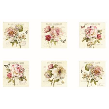 R2S.609FLEU Parafa poháralátét 6db-os, Marche Aux Fleurs