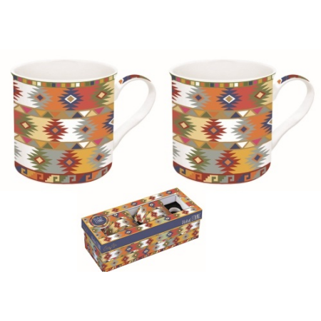 A.R2S.178GEA1 Porcelán bögre 2db-os 300ml, dobozban Global Ethnic Aztec 1