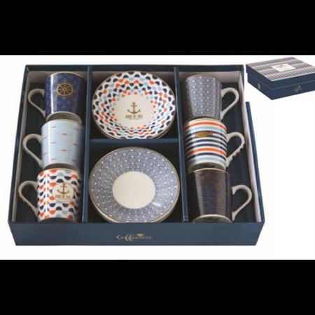 R2S.126CMBO Porcelán espresso csésze+alj 6 személyes, 100ml, dobozban, Coffee Mania Bord De Mer