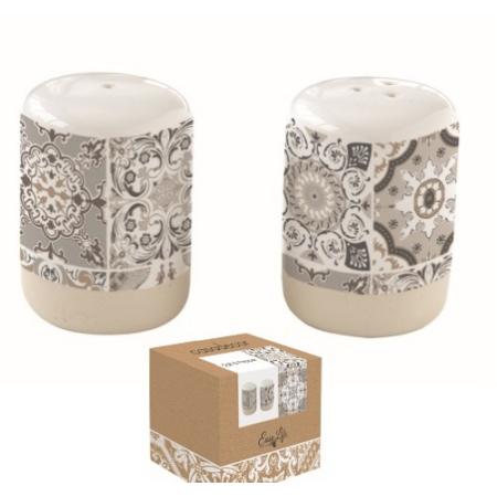 Porcelán só+bors szóró szett 80ml, dobozban, Casa Decor grey