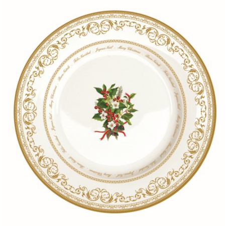 R2S.942HOLL Porcelán lapostányér 26,5cm,Christmas Holly