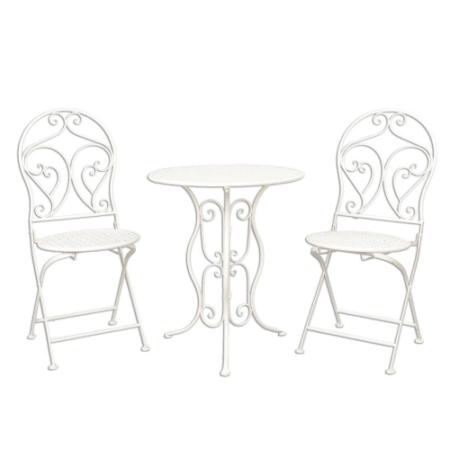 Antikolt fekete kovácsoltvas kerti bútor szett asztal 2 db székkel