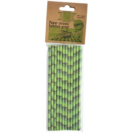 Bambusz mintás szívószál, 24 db-os