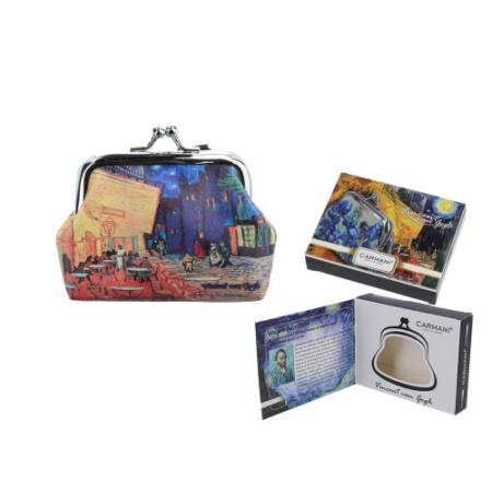 H.C.021-3709  Műbőr pénztárca 9x7,5x2cm, Van Gogh: Kávéház Éjjel