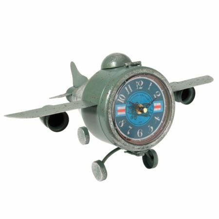 Clayre & Eef 6KL0428 Nosztalgikus repülő modell órával 37x22x19cm, antik zöld