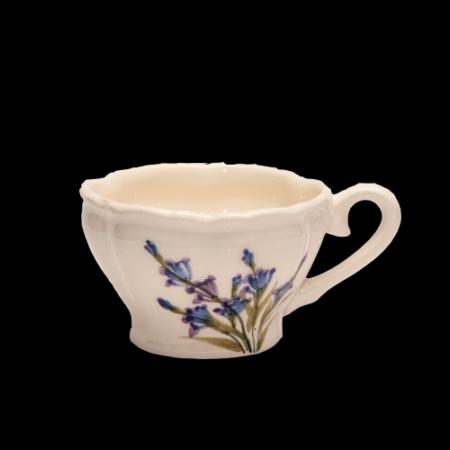 V.K.28-05 Romantik festett kávéscsésze,levendula,kerámia,kézzel festett