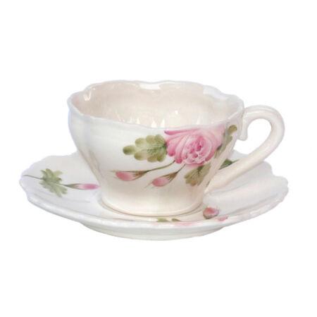 V.K.44-05 Romantik rózsás kávéscsésze, kerámia, kézzel festett