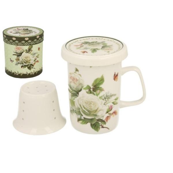 D.G.16055 Porcelán teásbögre, porcelánszűrővel és tetővel, dobozban, 320ml, Edith