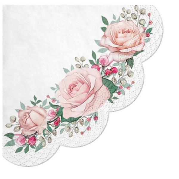P.W.SDR122600 Gorgeous Roses papírszalvéta 32cm,12 db-os
