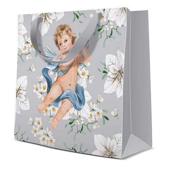 P.W.AGB2011410 Angels in Flower silver papír ajándéktáska CD-s 17x17x6cm