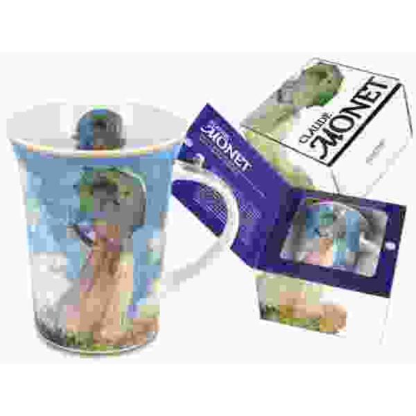 Porcelán bögre 350ml, Monet: Nő esernyővel