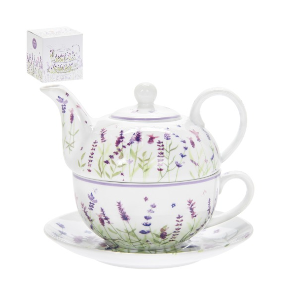 T.L.C.LP94060 Porcelán egyszemélyes teásszett 16x16x13cm, Lavender