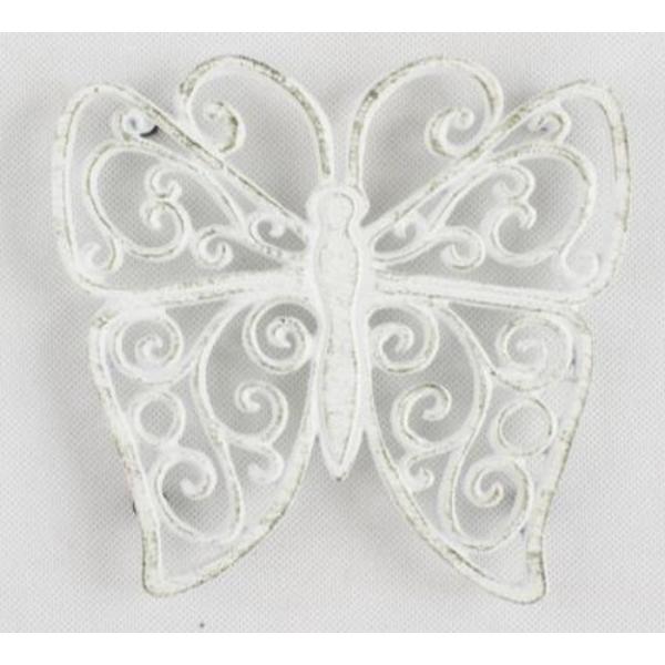 D.LS103B Öntöttvas edényalátét pillangó 18x19cm, antik fehér