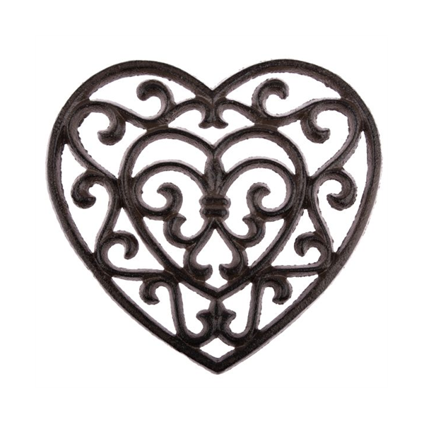 Öntöttvas szív edényalátét 19x18x1,5cm,  barna