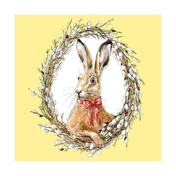 AMB.23312790 Bunny Portrait Yellow 33x33cm, 20db-os
