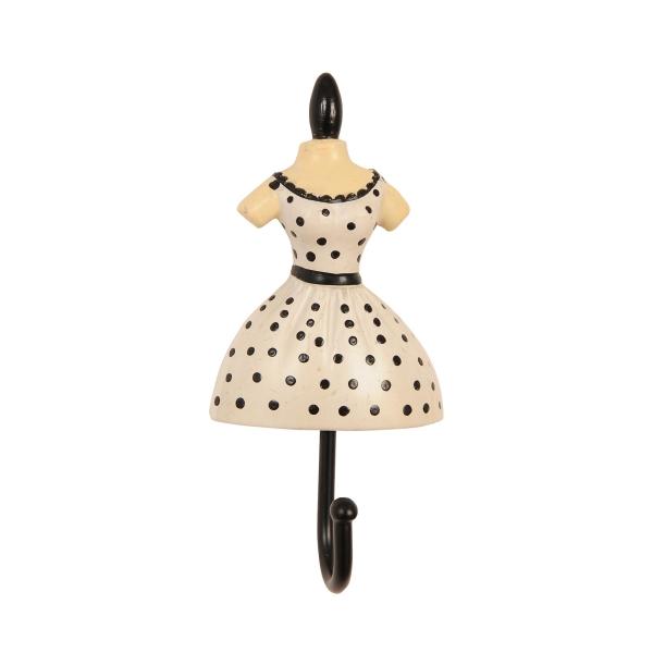 Clayre & Eef 60523 Fogas 10,5x5x3cm női ruhás,fehér-fekete pöttyös