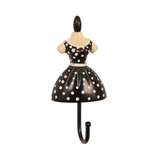 Clayre & Eef 60524 Fogas 10,5x5x3cm női ruhás,fekete-fehér pöttyös
