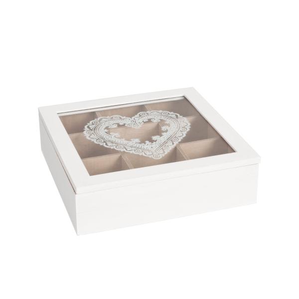 Fa teásdoboz üveg tetővel 24x24x7cm, szív festéssel
