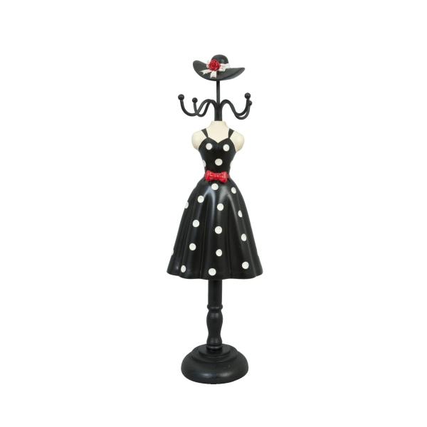 Clayre & Eef 61715 Ékszertartó baba 10,5x8x34,5cm,fekete-fehér pöttyös-piros masnis