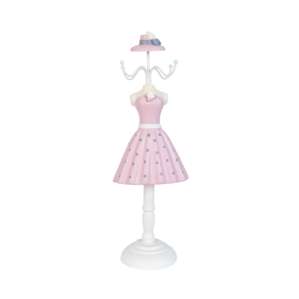 Clayre & Eef 63360 Ékszertartó baba 10x32cm,rózsaszín-szürke pöttyös, fehér rózsával
