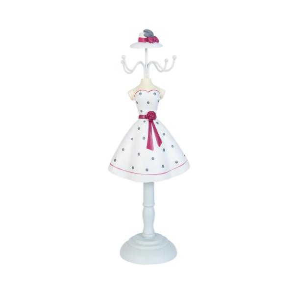 Clayre & Eef 63361 Ékszertartó baba 12x33cm,fehér-szürke pöttyös rózsás övvel