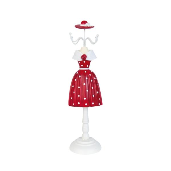 Ékszertartó baba 10x33cm,piros fehér pöttyös, rózsával