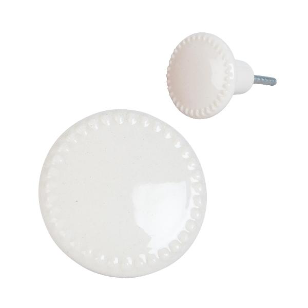 Clayre & Eef 63436 Ajtófogantyú porcelán 4cm, krém színű
